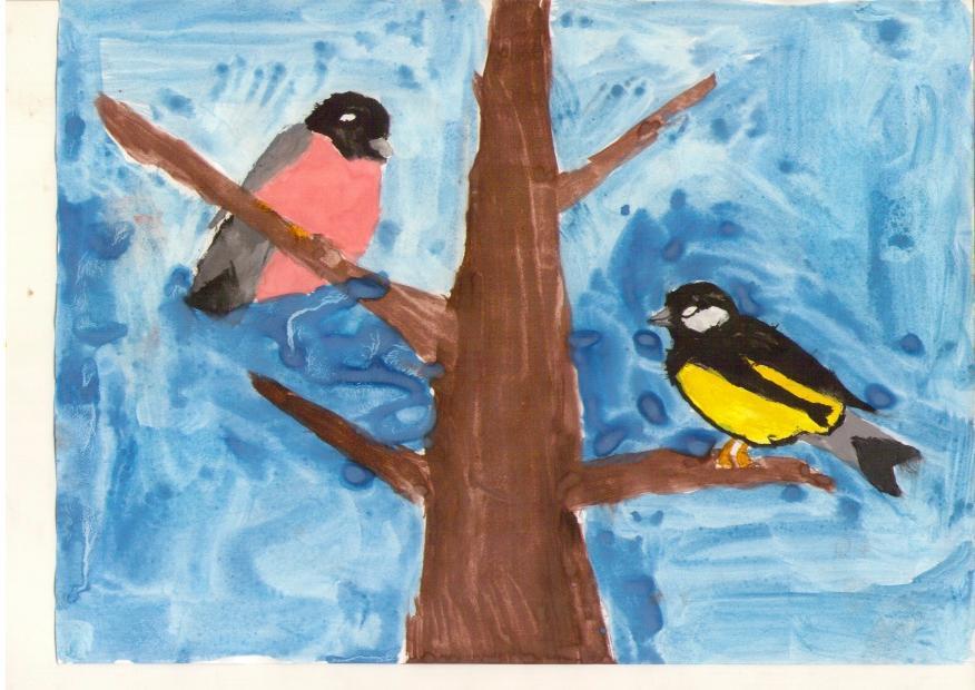 Картинки для детей снегирь и синичка